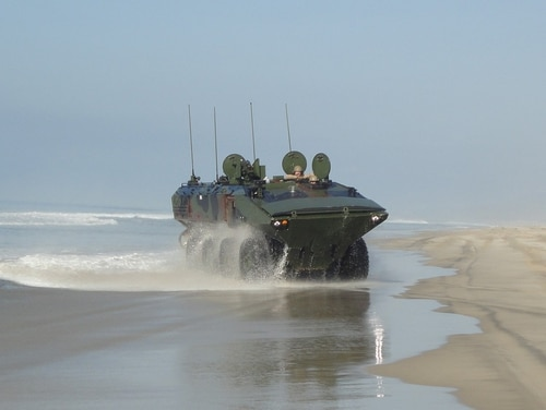 Marines take the Amphibious Combat Vehicle 1.1 out for a ride aboard Camp Pendleton, California. (Marine Corps)
