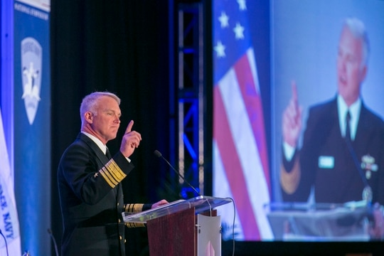 Vice Adm. Thomas Rowden, the commander of the U.S. Navy's surface forces, speaks during the Surface Navy Association's 30th National Symposium. (Alan Lessig/Staff)