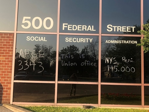 Social Security Administration employee Adam Pelletier was placed on administrative leave after tagging his office windows with washable paint. (Adam Pelletier)