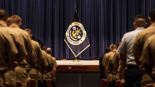 The U.S. Naval War College holds a graduation ceremony for senior enlisted leaders March 13. The Senior Enlisted Academy graduated 135 students from Class 230. (MC2 Tyler D. John/Navy)