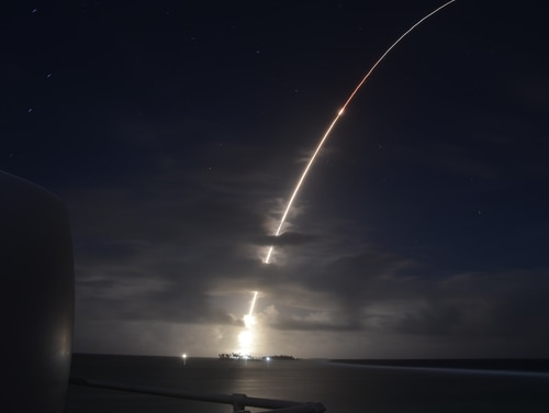 A threat-representative intercontinental ballistic missile target launches from the Ronald Reagan Ballistic Missile Defense Test Site on Kwajalein Atoll in the Republic of the Marshall Islands on March 25, 2019. (Courtesy of the U.S. Missile Defense Agency)