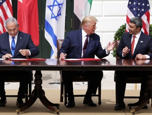 From left, Israeli Prime Minister Benjamin Netanyahu, U.S. President Donald Trump and UAE Foreign Affairs Minister Abdullah bin Zayed bin Sultan Al Nahyan participate in the signing of a normalization agreement between the two Mideast nations Sept. 15, 2020. (Alex Wong/Getty Images)