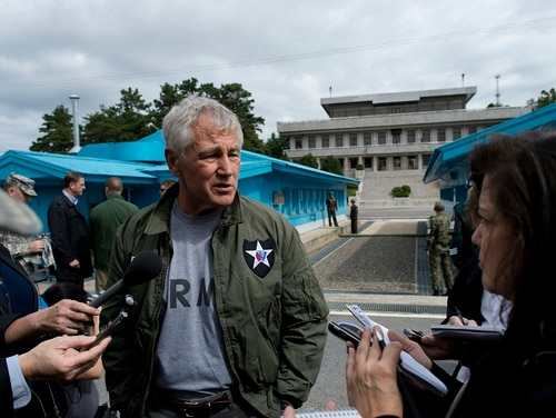Chuck Hagel, then U.S. Secretary of Defense, appears at the demilitarized zone in South Korea in front of the North Korean border Sept. 30, 2013. Hagel believes a first strike against North Korea would be a