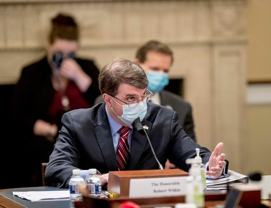 Veterans Affairs Secretary Robert Wilkie speaks during a House Appropriations Subcommittee on Military Construction, Veterans Affairs, and Related Agencies hearing on Capitol Hill in Washington, Thursday, May 28, 2020, on the Department of Veterans Affairs response to COVID-19. (Andrew Harnik/AP)