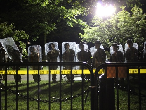 National Guard troops line up in front of the White House with their riot gear during protests over the death of George Floyd, June 2, 2020. (Kyle Rempfer/Staff)