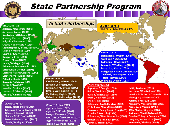 A map of countries involved in the U.S. National Guard's State Partnership Program. (National Guard)