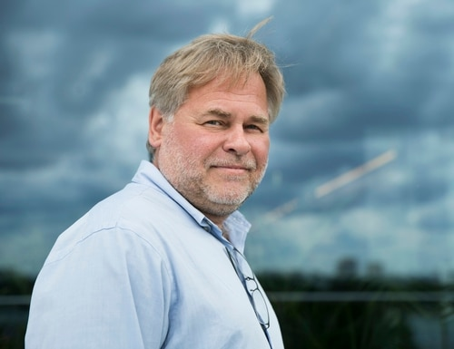 In this July 1, 2017, file photo, Eugene Kaspersky, Russian antivirus programs developer and chief executive of Russia's Kaspersky Lab, poses for a photo on a balcony at his company's headquarters in Moscow, Russia. (Pavel Golovkin/AP)