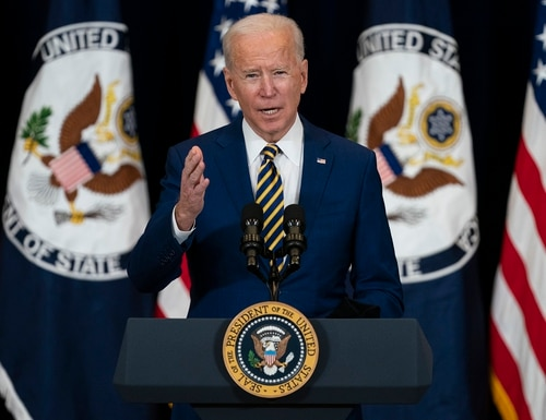 President Joe Biden delivers remarks to State Department staff onFeb. 4, 2021, in Washington. (Evan Vucci/AP)