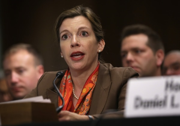 WASHINGTON, DC - MAY 06: Deputy Assistant Secretary of Defense for Russia/Ukraine/Eurasia Evelyn Farkas testifies during a hearing before the Senate Foreign Relations Committee May 6, 2014 on Capitol Hill in Washington, DC. The committee held a hearing on