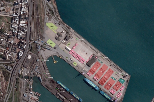 A BlackSky satellite collected three images in rapid succession over Port Elizabeth, South Africa, on August 10, 2020. By analyzing those images, the company is able to extract economic and financial indicators to offer a near-real-time view of commercial activity in Port Elizabeth. (BlackSky)
