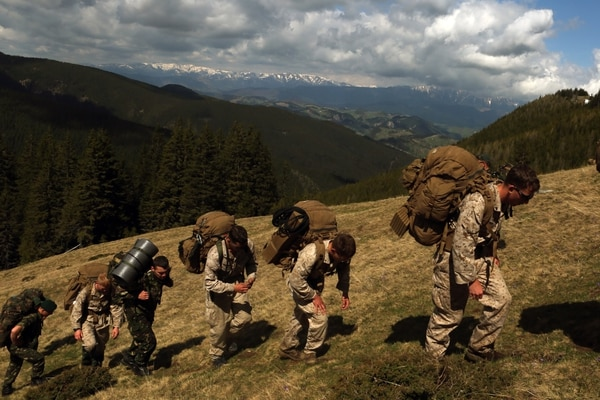 U.S. marines train in the Romanian portion of the Carpathian Mountain Range on a two-day hike in May 2015. (Cpl. Ashton Buckingham/Marine Corps)