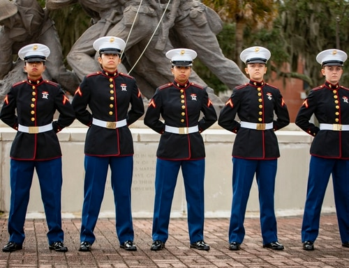 Two sets of sisters ― Amber and Ashley Valentine and Maria, Melissa and Vanessa Placido Jaramillo ― graduated from MCRD Parris Island, S.C., Nov. 13. (Sgt. Dana Beesley/Marine Corps)