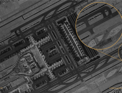 An image of Suvarnabhumi Airport, Thailand, created by Capella Space using synthetic aperture radar. (Capella Space)