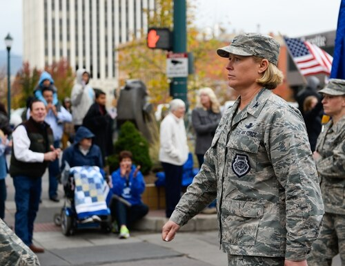Airmen from the 50th Space Wing walk during the Colorado Springs Veteran's Day Parade on Nov. 5, 2016. (Christopher DeWitt/Air Force)