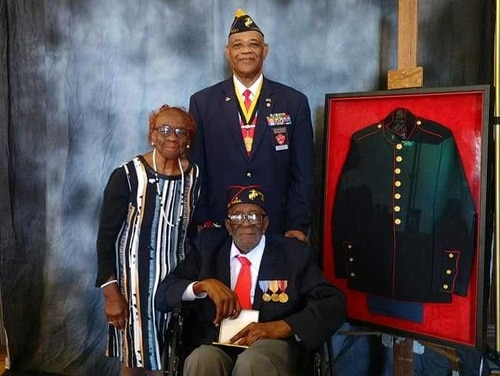 Joseph Alexander (front) was awarded the Congressional Gold Medal on Friday for being among the first African American Marines to enlist in the Marine Corps. (National Montford Point Marine Association)