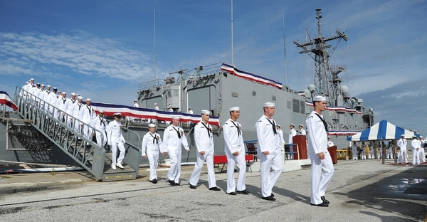 The last crew of the USS Simpson disembarked at Naval Station Mayport , Tuesday, Sept. 29, 2015, in Jacksonville, Fla. The USS Simpson, the last of the US Navy's Oliver Hazard Perry-class guided missile frigates, was is to be decommissioned. The ship has been is service since 1984. (Bruce Lipsky/The Florida Times-Union via AP) MANDATORY CREDIT