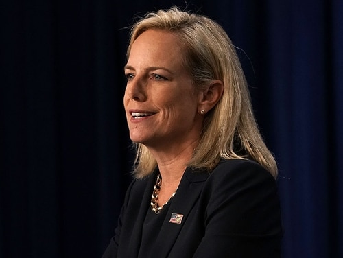 Homeland Security Secretary Kirstjen Nielsen speaks during a visit to the U.S. Immigration and Customs Enforcement (ICE) agency headquarters on July 6, 2018 in Washington, DC. (Alex Wong/Getty Images)