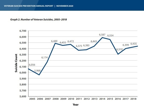 A graph from the Department of Veterans Affairs' annual report on veterans suicide, released on Nov. 12, 2020. (Courtesy of VA)