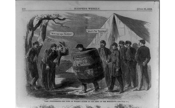 A page from Harper's Weekly in 1862 depicts a soldier from the Army of the Mississippi wearing an antiquated drunk tank — a whiskey barrel — as punishment for excessive intoxication. (Library of Congress)