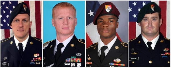 Staff Sgt. Bryan Black, from left, Staff Sgt. Jeremiah Johnson, Sgt. La David Johnson and Staff Sgt. Dustin Wright were killed in Niger when a joint patrol of American and Niger forces was ambushed on Oct. 4, 2017, by militants believed linked to the Islamic State group. (Army)