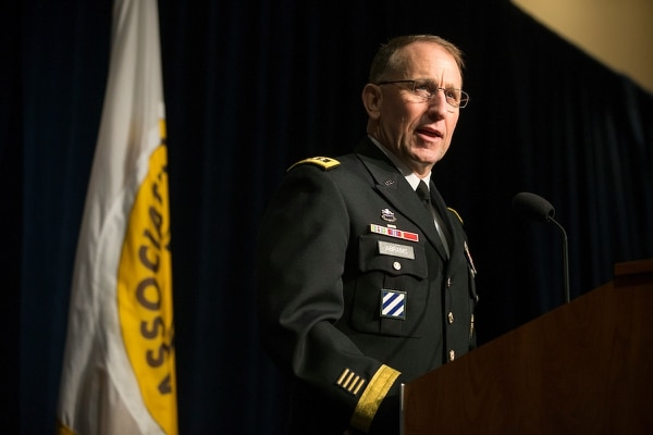 Gen. Robert B. Abrams, Commanding General of US Army Forces Command, speaks during the MG Robert G. Moorhead National Guard/Army Reserve Breakfast at the AUSA Annual Meeting. (Mike Morones for Army Times)