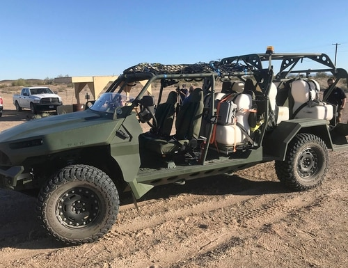 A new vehicle that the U.S. Army is acquiring to provide infantry soldiers with battlefield mobility is seen in the Yuma Proving Ground's harsh desert terrain in southwestern Arizona on Feb. 17, 2021. (James Gilbert/The Yuma Sun via AP)