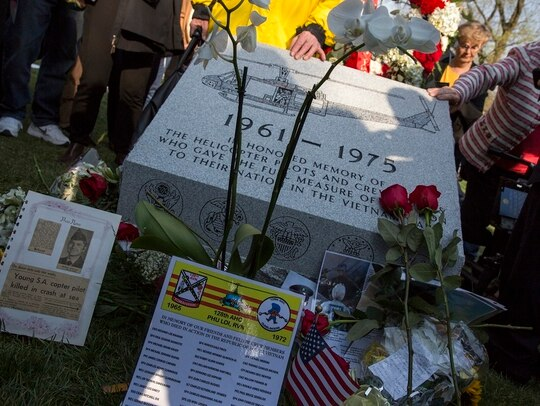 The Vietnam Helicopter Pilot and Crewmember Monument was dedicated at Arlington National Cemetery on Wednesday. (Dustin Diaz/Staff)