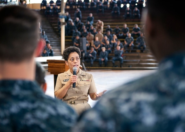 150514-N-WF272-057 PEARL HARBOR (May 14, 2015) Vice Chief of Naval Operations (VCNO) Adm. Michelle J. Howard addresses Sailors based in Hawaii during an all-hands call (AHC) held at the Bloch Arena on Joint Base Pearl Harbor-Hickam. During the AHC, Howard discussed gender integration, sexual assault and cyber security. (U.S. Navy photo by Mass Communication Specialist 2nd Class Diana Quinlan/Released)