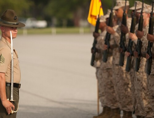 Sgt. Michael Eldridge assesses his platoon during an initial drill evaluation July 15, 2013, on Parris Island, South Carolina. (Cpl. Caitlin Brink/Marine Corps)