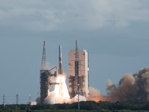 A GPS III satellite launches into orbit on a United Launch Alliance's Delta IV rocket leaving Cape Canaveral Air Force Station, Florida, Aug. 22, 2019. (Airman 1st Class Dalton Williams/U.S. Air Force)