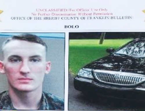 Marine Cpl. Michael Alexander Brown is shown in this undated image released by the Franklin County, Virginia, Sheriff's Office. (Franklin County Sheriff's Office via AP)