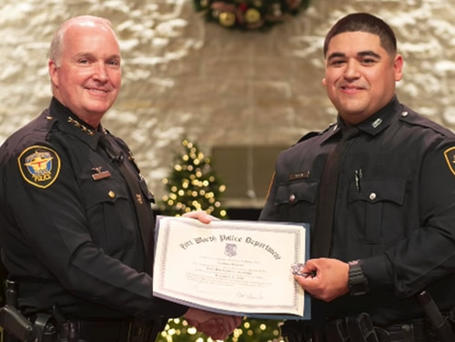 Marine veteran Zach Briseno, right, graduated from the Fort Worth Police Academy on Dec. 11, 2020. (Photo courtesy Fort Worth Police Department)