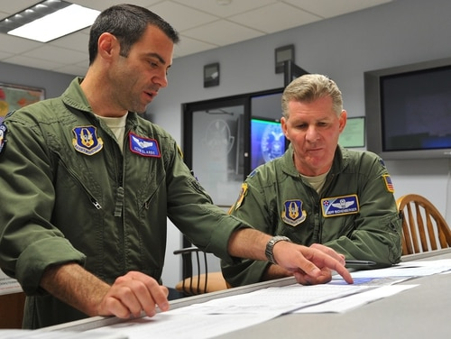 KC-135 Stratotanker pilots conduct a mission planning briefing. The Air Force's task force on revitalizing squadrons will likely recommend improvements in how squadrons identify success, and how they measure and track it. (Master Sgt. Donald R. Allen/Air Force)