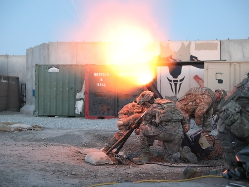 Soldiers fire their mortar system in support of operations in Laghman Province, Afghanistan. Troops are still scheduled to come home completely in May, but that could change. (Sgt. Jordan Trent/Army)