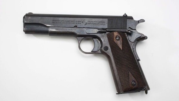 Colt's John Browning beat all comers at the next Army trials with his innovative semiautomatic . 45 ACP M1911, which saw service through both world wars and into the 1980s. The powerful weapon remains a favorite of special operations units. (National Firearms Museum)
