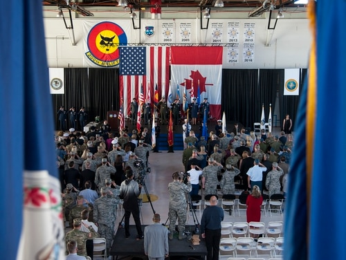 Members of both the North American Aerospace Defense Command and Northern Command attend a change of command ceremony at Peterson Air Force Base, Colo., May 24, 2018. (Staff Sgt. Emily Kenney/DoD)