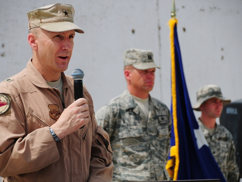 Lt. Gen. David Allvin, left, has been nominated to receive his fourth star and become the Air Force's next vice chief of staff. Allvin is shown here as a brigadier general in command of the 438th Air Expeditionary Wing in Afghanistan in 2011. (Senior Airman Amber Williams/Air Force)
