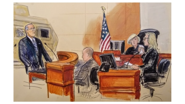 Kelli Hake, whose husband, Staff Sgt. Christopher Hake, was killed in Iraq in 2008, testifies in a federal trial against Iran for its role in attacks against U.S. troops in Iraq. (Elizabeth Williams/courtesy Osen law firm)