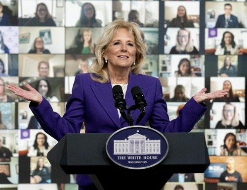 First lady Jill Biden speaks at a virtual event with military families from around the world as part of the White House initiative to support military and veteran families Wednesday. (Andrew Harnik/AP)