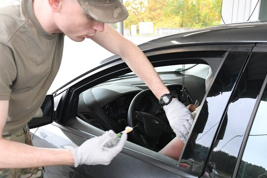 The U.S. Army Health Clinic in Hohenfels, Germany, kicked off its 2019 pandemic influenza exercise Oct. 21, called Pandemic Drive Thru Flu. In addition to providing health care to active duty personnel, the Pentagon is responsible for furnishing medical care to beneficiaries at military hospitals and clinics and through the Tricare health program. U.S. Army photo by Alain M. Polynice (Alain M. Polynice/Army)