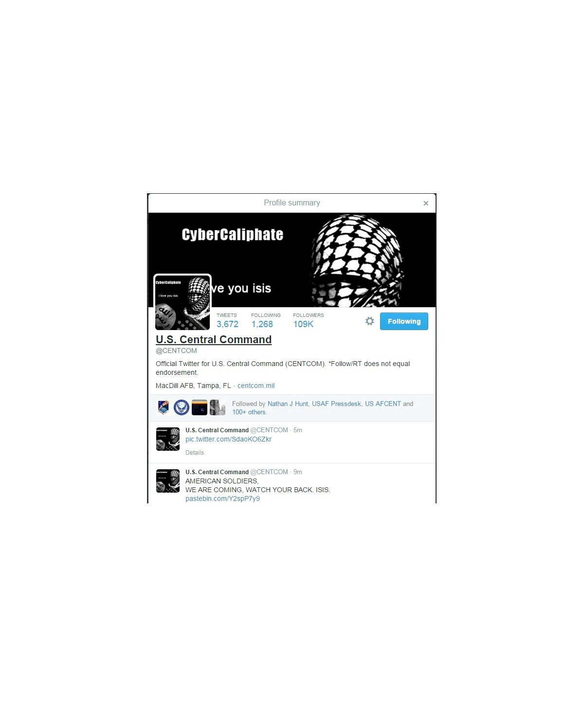 CENTCOM's Twitter account hacked by Islamic State supporters