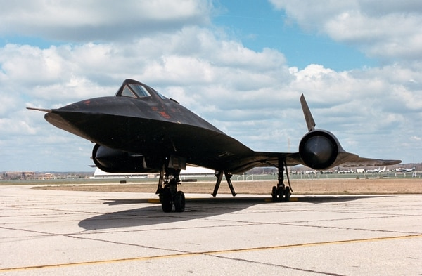 "The SR-71, unofficially known as the ""Blackbird,"" is a long-range, advanced strategic reconnaissance aircraft. (Air Force)"