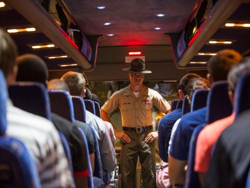Senior Drill Instructor Sgt. Jonathan M. Owens welcomes young men and women from across the country to Parris Island, South Carolina. (Pfc. Vanessa Austin/Marine Corps)