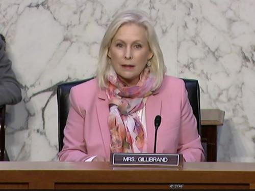 Sen. Kirsten Gillibrand chairs a Senate subcommittee on personnel on May 13, in Washington. (Screenshot via U.S. Senate)