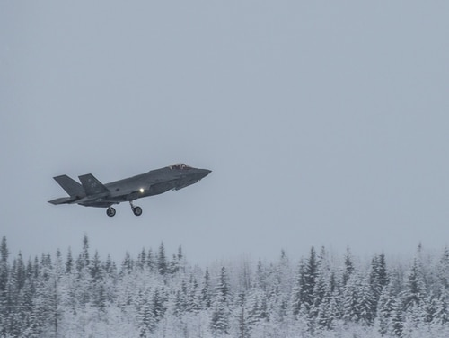 A U.S. Air Force F-35A takes off at Eielson Air Force Base, Alaska. The cold around Eielson AFB forced some F-35s to the ground when it triggered a battery warning sensor. (Isaac Johnson/U.S. Air Force)