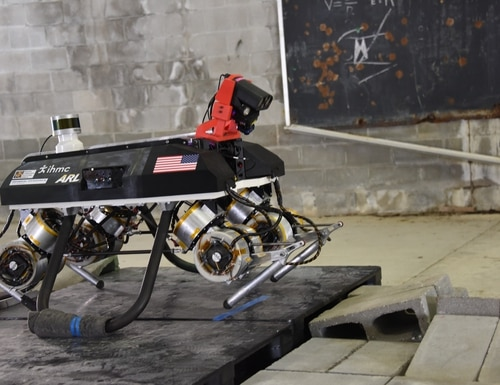 The Legged Locomotion and Movement Adaptation, or LLAMA, is an autonomous quadruped mobility research platform system patterned after a working dog and similar animals. (Army)