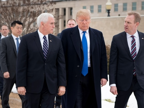 U.S. President Donald Trump and Vice President Mike Pence is greeted by U.S. Acting Secretary of Defense Patrick M. Shanahan as they arrive at the Pentagon on Jan 17, 2019. (Tech Sgt. Vernon Young Jr./Defense Department)