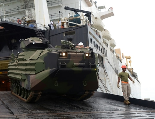 U.S. Marines unload vehicles and equipment from the U.S. Naval Ship Sgt. William R. Button during a Maritime Prepositioning Force (MPF) offload as they prepare for NATO led Exercise Trident Juncture 2015. More than 30 nations and 36,000 service members are participating in the event. (U.S. Army photo by Visual Information Specialist Jason Johnston/Released)