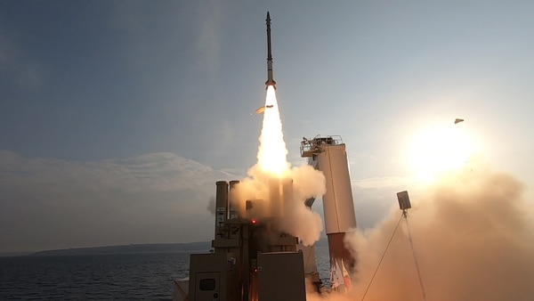 A missile interceptor is fired at sea against a target as part of the recent Israeli drill. (Courtesy of Israel's Defense Ministry)