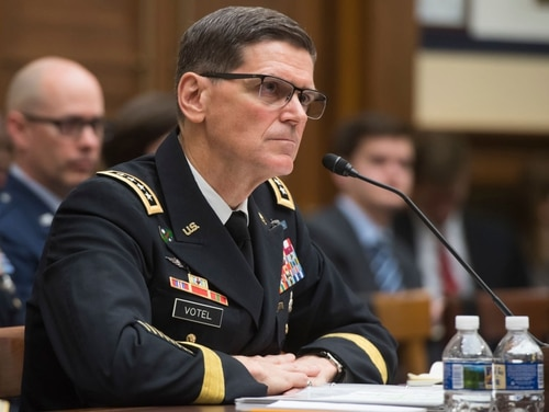 Army Gen. Joseph Votel, commander of the U.S. Central Command, testifies during a House Armed Services Committee hearing on Capitol Hill in Washington on Feb. 27, 2018. (Saul Loeb/AFP via Getty Images)
